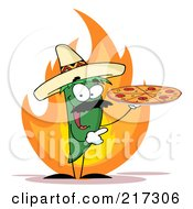 Royalty Free RF Clipart Illustration Of A Green Pepper Character Holding A Pizza Over Flames