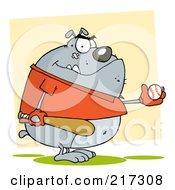 Royalty Free RF Clipart Illustration Of A Fat Bulldog Playing Baseball