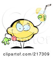 Royalty Free RF Clipart Illustration Of A Lemon Character Holding Up A Glass Of Lemonade by Hit Toon