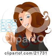 Clipart Picture Illustration Of A Brunette Haired Woman Entering Her Security Code Into A Keypad On A White Background