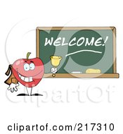 Royalty Free RF Clipart Illustration Of A School Apple Ringing A Bell By A Welcome Chalk Board