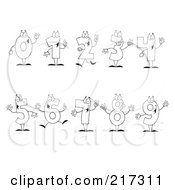 Royalty Free RF Clipart Illustration Of A Digital Collage Of Outlined Number Characters by Hit Toon