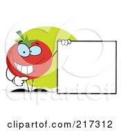 Royalty Free RF Clipart Illustration Of A Tomato Character Holding A Blank Sign With One Hand by Hit Toon