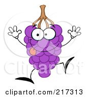 Royalty Free RF Clipart Illustration Of A Happy Purple Grape Character by Hit Toon