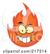 Royalty Free RF Clipart Illustration Of A Grinning Flame Character