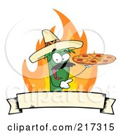 Green Pepper Character Holding A Pizza Over Flames And A Banner