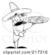 Royalty Free RF Clipart Illustration Of An Outlined Pepper Character Holding A Pizza