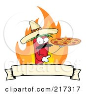 Royalty Free RF Clipart Illustration Of A Red Pepper Character Holding A Pizza Over Flames And A Banner