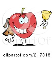 Royalty Free RF Clipart Illustration Of A Happy Red School Apple Ringing A Bell by Hit Toon