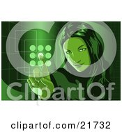 Clipart Picture Illustration Of A Young Woman Entering Her Security Code Into A Keypad Green Tones by Tonis Pan