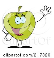 Royalty Free RF Clipart Illustration Of A Friendly Green Apple Character Waving