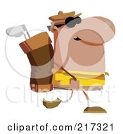 Royalty Free RF Clipart Illustration Of A Hispanic Man Carrying A Golf Bag by Hit Toon