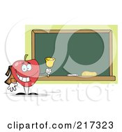 Royalty Free RF Clipart Illustration Of A Red School Apple Ringing A Bell By A Chalk Board