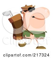 Royalty Free RF Clipart Illustration Of A Male Golfer Carrying A Bag On His Back