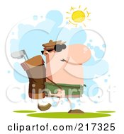 Royalty Free RF Clipart Illustration Of A Walking Golfer Carrying A Bag On His Back