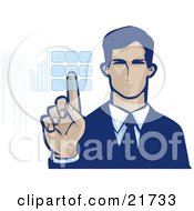 Clipart Picture Illustration Of A Corporate Businessman Entering Her Security Code Into A Keypad On A White Background by Tonis Pan