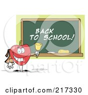 Royalty Free RF Clipart Illustration Of A Red School Apple Ringing A Bell By A Back To School Chalk Board