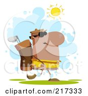 Royalty Free RF Clipart Illustration Of A Hispanic Golfer Carrying A Bag