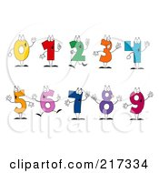 Royalty Free RF Clipart Illustration Of A Digital Collage Of Colorful Number Characters by Hit Toon #COLLC217334-0037