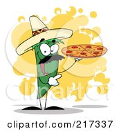 Royalty Free RF Clipart Illustration Of A Green Pepper Character Holding A Pizza Over Orange Splatters