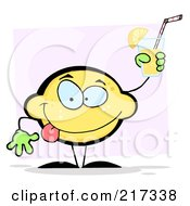 Royalty Free RF Clipart Illustration Of A Lemon Character Holding Up Lemonade by Hit Toon