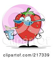 Royalty Free RF Clipart Illustration Of A Strawberry Drinking And Wearing Shades by Hit Toon