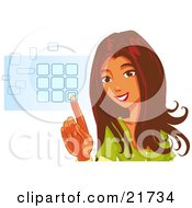 Clipart Picture Illustration Of A Beautiful Brunette Woman Smiling And Entering Her Security Code Into A Keypad On A White Background