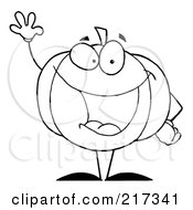 Royalty Free RF Clipart Illustration Of An Outlined Waving Halloween Pumpkin Character
