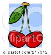 Royalty Free RF Clipart Illustration Of Two Red Cherries On Stems With A Leaf