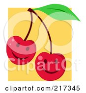 Royalty Free RF Clipart Illustration Of Two Happy Cherries With Smiles