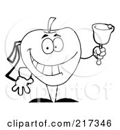 Royalty Free RF Clipart Illustration Of An Outlind School Apple Ringing A Bell