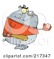Royalty Free RF Clipart Illustration Of A Fat Bulldog Wearing A Shirt And Playing Baseball by Hit Toon