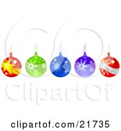 Row Of Hanging Glass Christmas Ornament Baubles