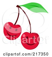 Royalty Free RF Clipart Illustration Of Two Happy Cherry Faces