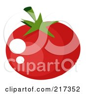 Royalty Free RF Clipart Illustration Of A Shiny Red Heirloom Tomato by Hit Toon