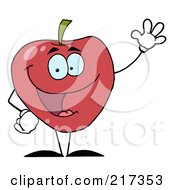 Royalty Free RF Clipart Illustration Of A Friendly Red Apple Character Waving by Hit Toon