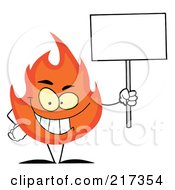 Royalty Free RF Clipart Illustration Of A Grinning Flame Character Holding A Blank Sign