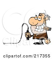 Royalty Free RF Clipart Illustration Of A Scruffy Boss Holding A Whip In His Hand And Smoking A Cigar by Hit Toon