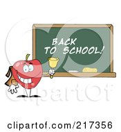 Royalty Free RF Clipart Illustration Of A School Apple Ringing A Bell By A Back To School Chalk Board