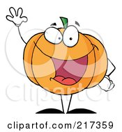Royalty Free RF Clipart Illustration Of A Waving Halloween Pumpkin Character