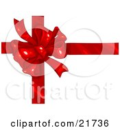 Clipart Picture Illustration Of A Birthday Anniversary Valentines Day Or Christmas Present Wrapped With A Red Ribbon And Bow Over White