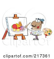 Royalty Free RF Clipart Illustration Of A Black Man Painting A Still Life Of Fruit On Canvas by Hit Toon
