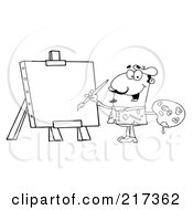 Royalty Free RF Clipart Illustration Of An Outlined Man Painting On Canvas by Hit Toon