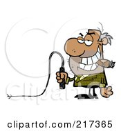 Royalty Free RF Clipart Illustration Of A Mean Black Manager Holding A Whip In His Hand And Smoking A Cigar