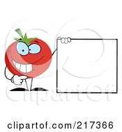 Royalty Free RF Clipart Illustration Of A Happy Tomato Character Holding Up A Blank Sign With One Hand by Hit Toon