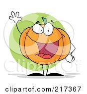 Royalty Free RF Clipart Illustration Of A Halloween Pumpkin Character Waving
