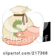 Royalty Free RF Clipart Illustration Of A Caucasian Hand Holding A Sack Of Money