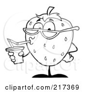 Royalty Free RF Clipart Illustration Of An Outlined Thirsty Strawberry Drinking Juice And Wearing Shades by Hit Toon