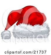 Clipart Picture Illustration Of A Red Velvet Santa Hat With Fluffy White Trim Over White