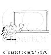 Royalty Free RF Clipart Illustration Of An Outlined School Apple Ringing A Bell By A Chalk Board